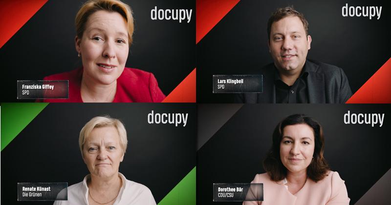 Docupy konfrontiert Spitzenpolitiker wie Franziska Giffey, Lars Klingbeil, Renate Künast und Dorothee Bär mit der Frage nach der Anerkennung von eSports (Fotos: BTF / WDR)