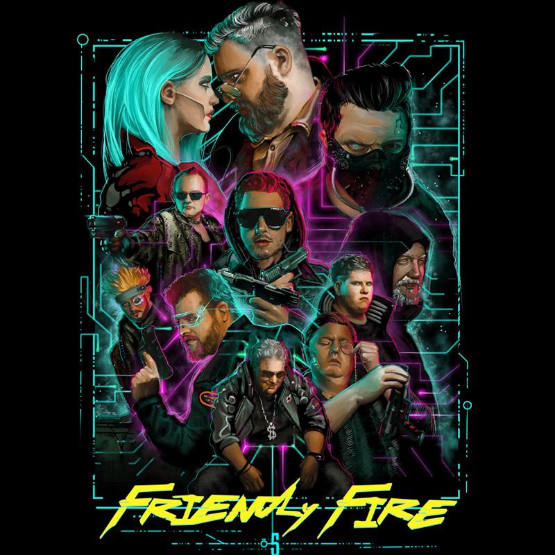 "Das spektakuläre ""Friendly Fire 5""-Artwork im ""Cyberpunk 2077""-Stil ziert alle Fanartikel der Charity-Aktion (Abbildung: Yvolve)"