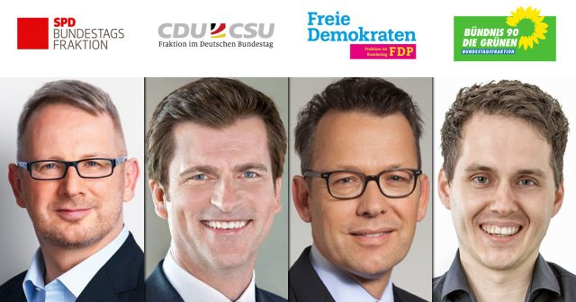 Die haushaltspolitischen Sprecher im Bundestag: Johannes Kahrs (SPD), André Berghegger (CDU), Otto Fricke (FDP) und Sven-Christian Kindler (Grüne) - Fotos: Parteien / Sven Brauers