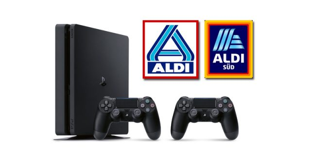 Ab 28.11.2019 in den ALDI-Filialen erhältlich (solange Vorrat reicht): Die PS4 Slim mit zwei Controllern für 199 Euro (Abbildung: ALDI)