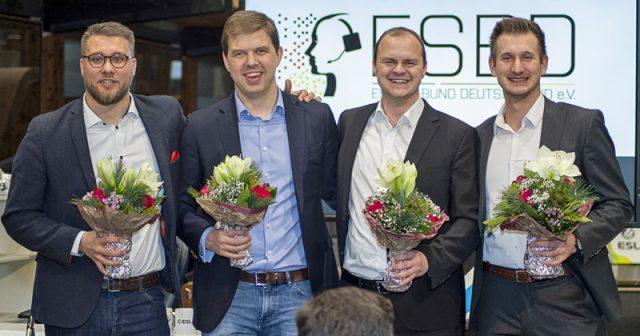 Das frisch gewählte ESBD-Präsidium: Hans Jagnow, Fabian Laugwitz, Martin Müller und Christopher Flato (Foto: ESBD / Maria Manneck)