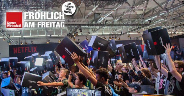 Gamescom-Aussteller wie Samsung verteilen Gratis-Papp-Sitzhocker ans Publikum (Foto: Samsung Deutschland)