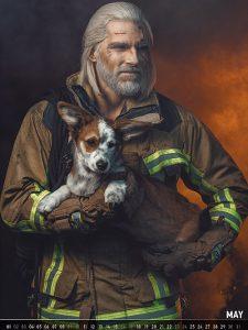 """Geralt von Riva als Feuerwehrmann: Das Mai-Motiv aus dem """"Witcher""""-Cosplay-Kalender 2020 (Abbildung: Defcon Unlimited)"""