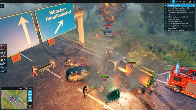 """Massen-Crash auf der Autobahn: """"Emergency"""" konfrontiert die Spieler mit komplexen Rettungseinsätzen (Abbildung: Sixteen Tons)"""