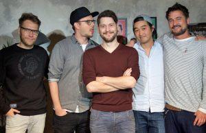 Gründer und Gesellschafter von Rocket Beans TV: Nils Bomhoff, Etienne Gardé, Simon Krätschmer, Daniel Budiman und Arno Heinisch (Foto: Rocket Beans TV / Marco J. Drews)
