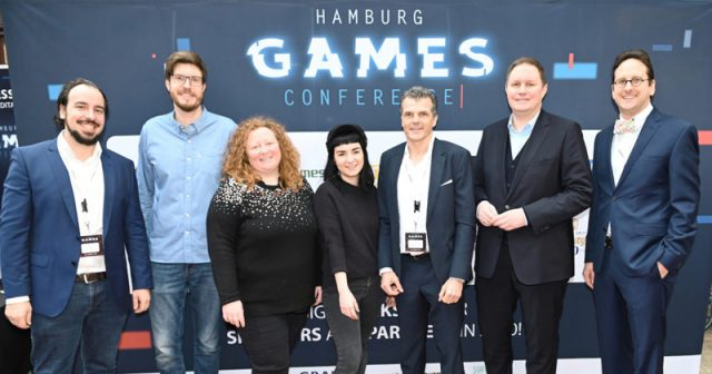 Macher und Ehrengäste der Hamburg Games Conference 2020: Wolf Lang (Super Crowd), Dennis Schoubye (Gamecity Hamburg), Stephanie Lang (Super Crowd), Valentina Birke (Super Crowd), Ralph Graef (Graef Rechtsanwälte), Carsten Brosda (Kultursenator) und Christian Rauda (Graef Rechtsanwälte) - Foto: Stephanie Lampe / Photolampe