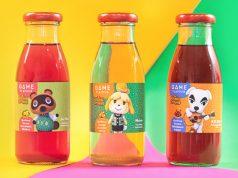 """Tom Nook, Melinda und K. K. Slider zieren die """"Animal Crossing: New Horizons""""-Fruchtgetränke (Foto: Nintendo)"""