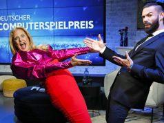 Führten gut gelaunt durch den zweieinhalbstündigen Livestream: die Computerspielpreis-Moderatoren Barabara Schöneberger und Nino Kerl (Foto: Franziska Krug / Getty Images für Quinke Networks)