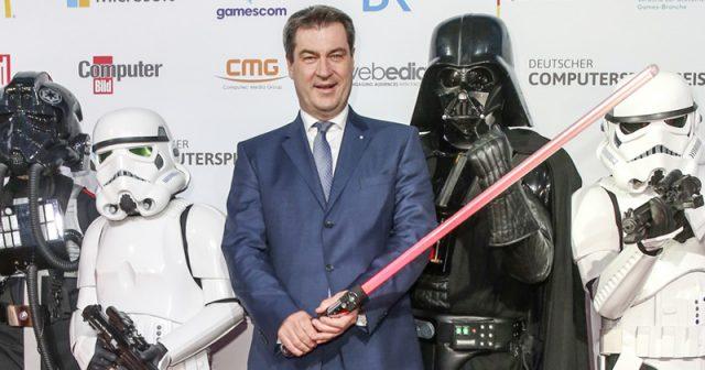 Bayerns Ministerpräsident Markus Söder (CSU) beim Deutschen Computerspielpreis 2018 in München (Foto: Isa Foltin / Getty Images for Quinke Networks)