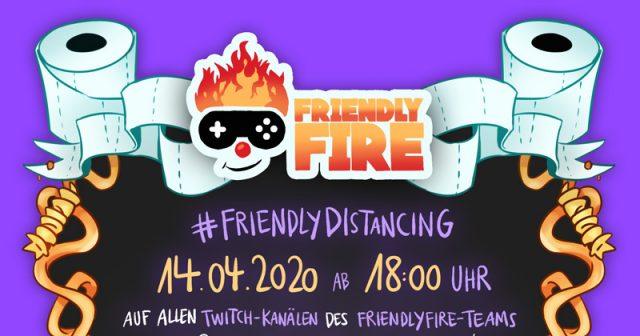 Gemeinsam gegen Corona: Mit Friendly Distancing soll das Ergebnis von Friendly Fire 5 übertroffen werden (Abbildung: Twitch)