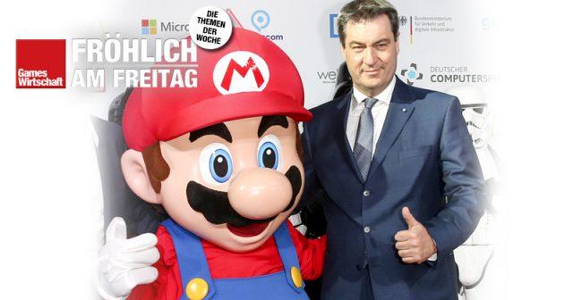Bayerns Ministerpräsident Markus Söder (CSU) vor zwei Jahren beim Deutschen Computerspielpreis in München (Foto: Getty Images / Isa Foltin für Quinke Networks)