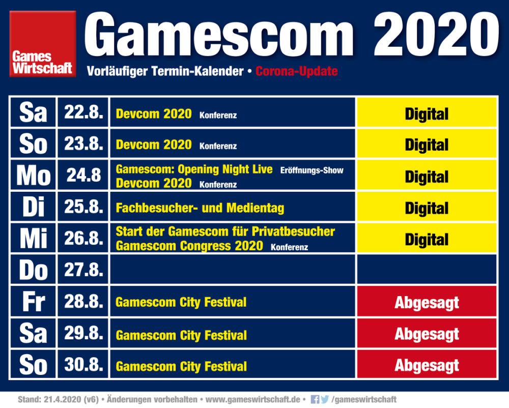 Vorläufiger Gamescom 2020-Kalender - Änderungen vorbehalten (Stand: 21. April 2020)