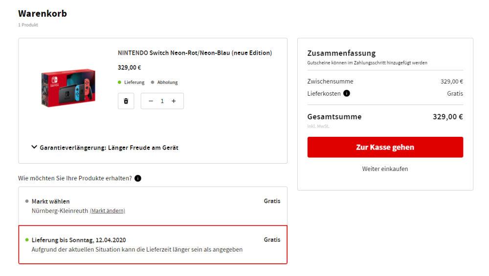 Bei MediaMarkt sind Switch-Bestellungen zeitweise möglich (Stand: 8. April / 16 Uhr)