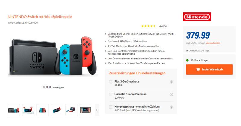 Knapp 380 Euro verlangt Expert.de für die Nintendo Switch (Stand: 15.4.2020, 11 Uhr)