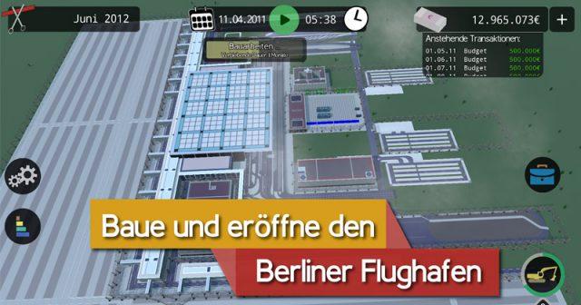 Ab sofort im Appstore zum kostenlosen Download erhältlich: der BER Bausimulator vom Postillon (Abbildung: Steckenpferd Enterprises)