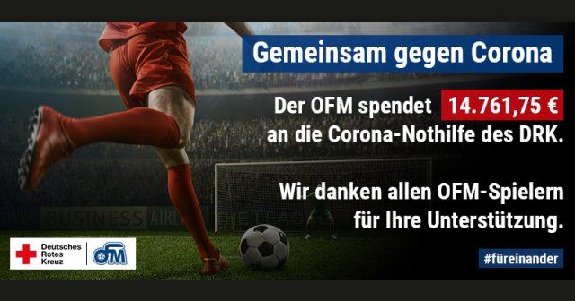 Die OFM Studios GmbH spendet fast 15.000 Euro an das DRK.