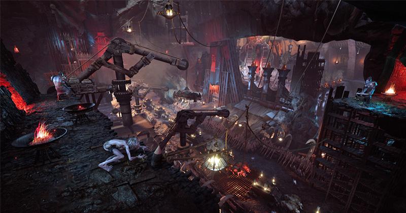 """Szene aus """"Der Herr der Ringe: Gollum"""": Übermächtige Gegner müssen mit Finten und Schleichen überwunden werden (Abbildung: Daedalic Entertainment)"""
