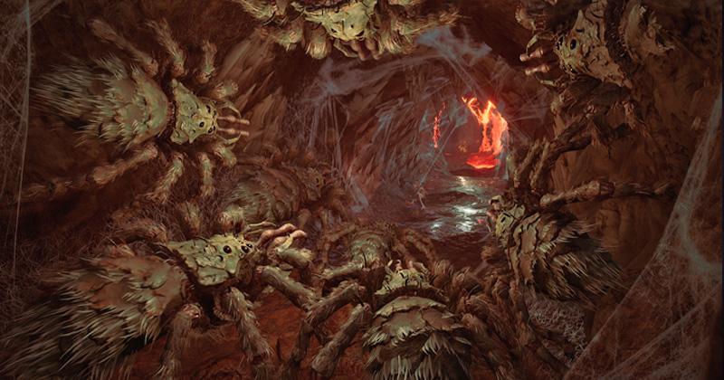 Große Spinnen, kleiner Held: Gollum bekommt es mit mächtigen Gegnern zu tun (Abbildungen: Daedalic Entertainment)