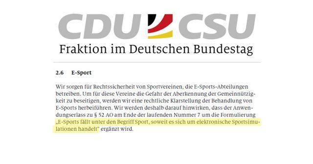 CDU und CSU wollen das Ehrenamt stärken - und bestimmte E-Sport-Titel als gemeinnützig anerkennen (Abbildung: CDU/CSU-Bundestags-Fraktion)