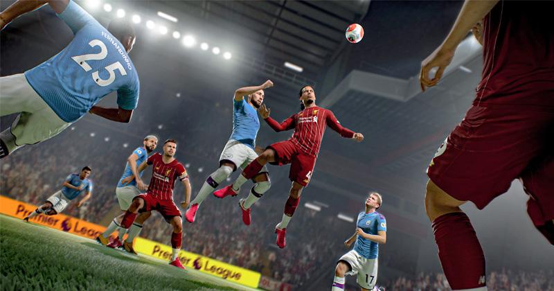 """Szene aus """"FIFA 21"""": Liverpool und ManCity im Zweikampf (Abbildung: EA)"""