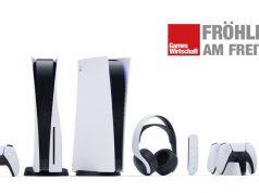 Die PlayStation-5-Familie mit Controller, Konsole und Zubehör (Abbildung: Sony Interactive)