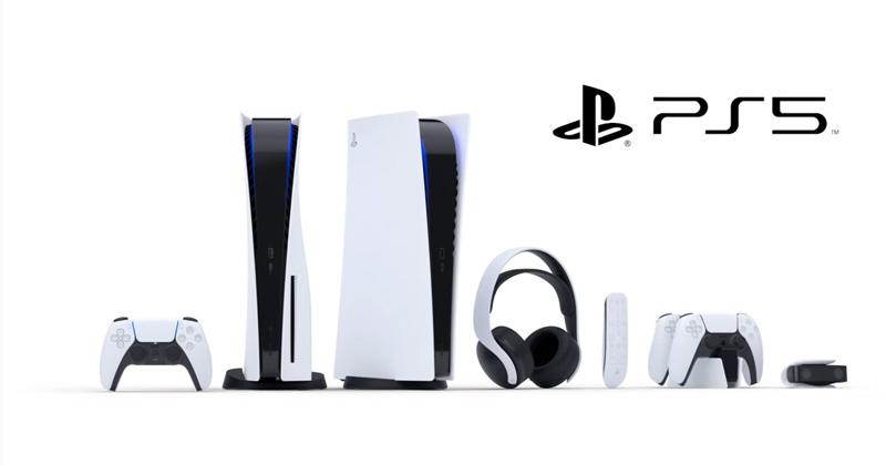 Die PlayStation-5-Familie im Überblick: DualSense-Controller, Konsole, Kopfhörer, Fernbedienung, Ladestation und Kamera (Abbildung: Sony Interactive)