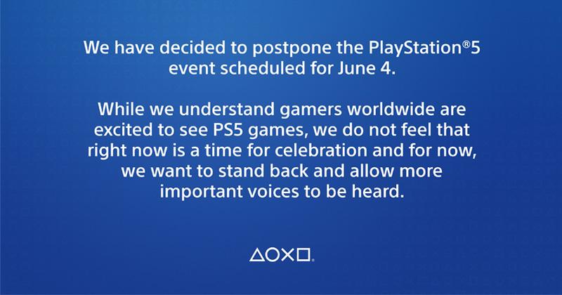 Absage und Solidarität: Sony Interactive verschiebt die Vorstellung der PlayStation-5-Titel (Abbildung: Twitter)