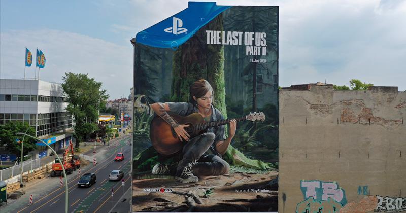 """Ellie in XXL: Sony Interactive wirbt für """"The Last of Us Part 2"""" mit diesem Wandbild in Berlin (Abbildung: SIE)"""