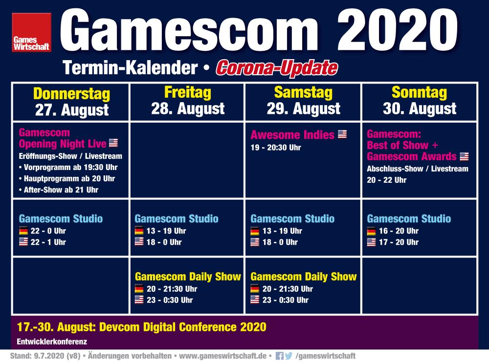 Livestreams, Shows, Uhrzeiten: Der vorläufige Zeitplan der virtuellen Gamescom 2020 (Stand: 9. Juli 2020)