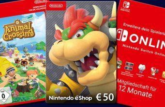 Nintendo bietet Download-Codes für einzelne Spiele, eShop-Guthaben und Switch-Online-Abos an (Abbildungen: Nintendo)