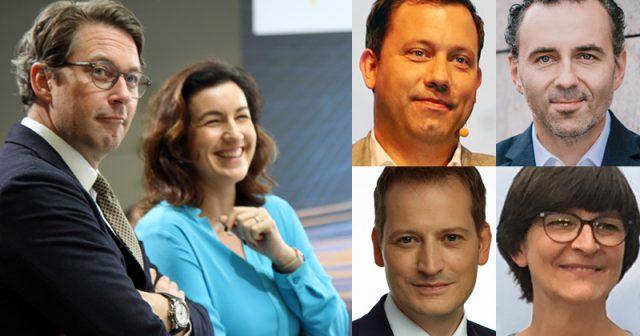 Sechs der wichtigsten Games-Politiker 2020: Scheuer, Bär, Klingbeil, Jarzombek, Höferlin, Esken (v. l. n. r. - Fotos: Fröhlich, BMWI / Tobias Koch, FDP / Christian Kuhlmann)