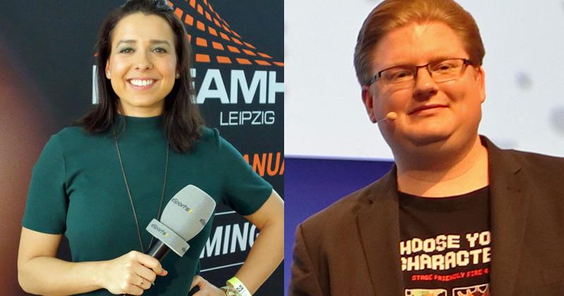 Die beiden Moderatoren des Debatt(l)e Royale 2020: Phylicia Whitney und PietSmiet-YouTuber Peter Smits (Fotos: Sport1 / Fröhlich)