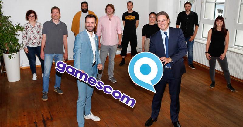 Game-Geschäftsführer Felix Falk und Verkehrsminister Andreas Scheuer beim Besuch des Berliner Studios Yager (Foto: Game / Franziska Krug / Getty Images)