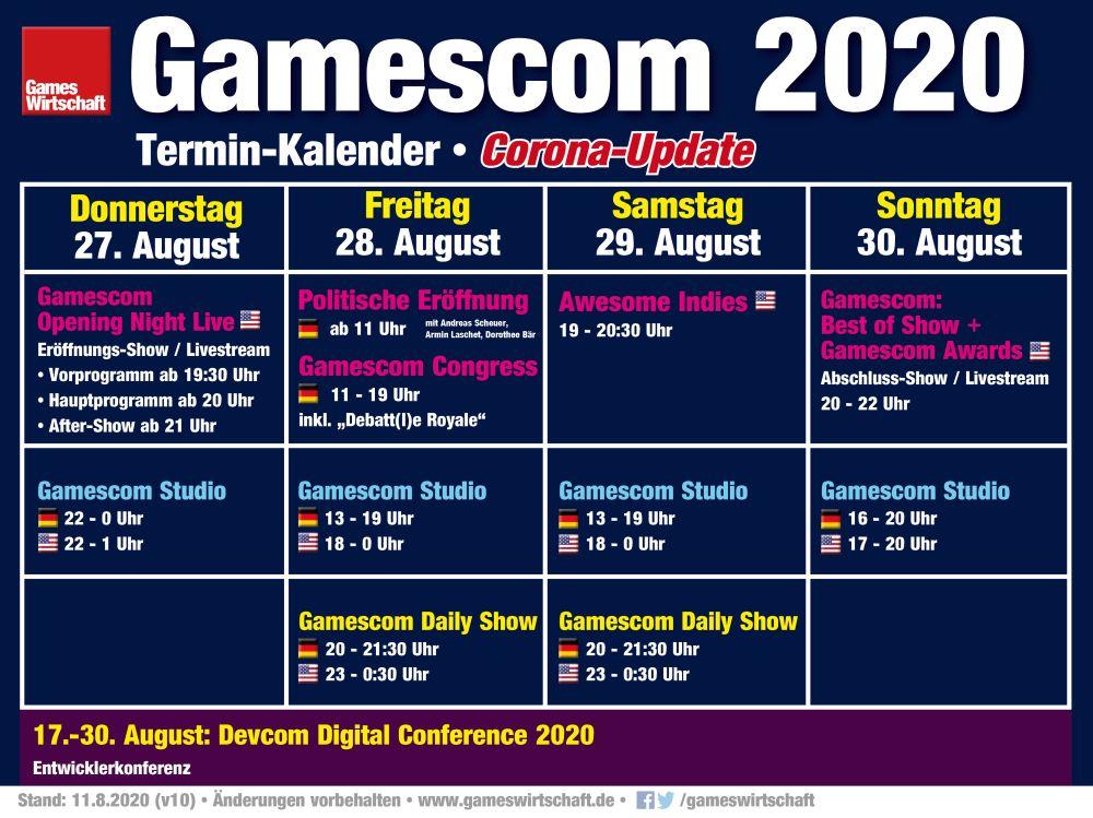 Das vorläufige Programm der Gamescom 2020 (Stand: 11.8.2020)