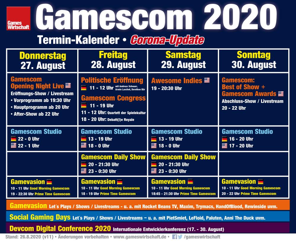 Das vorläufige Programm zur Gamescom 2020 (Stand: 26. August 2020)