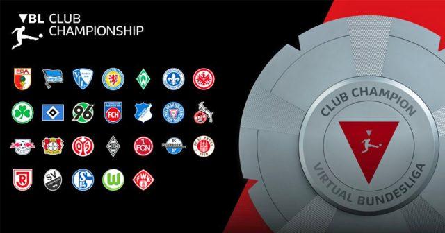Das Teilnehmerfeld der Virtual Bundesliga Club Championship 2020/2021 (Abbildung: DFL / EA)