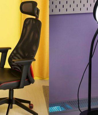 Ab Oktober 2021 bei IKEA: MATCHSPEL-Gaming-Stuhl und LANSPELARE-Ringlicht (Fotos: Inter IKEA Group)