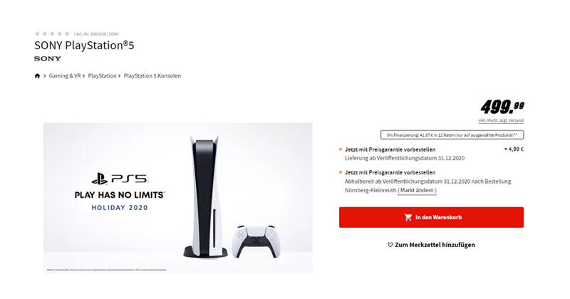 Wer Glück hatte, konnte die PlayStation 5 vorbestellen - wie hier bei MediaMarkt (Screenshot)