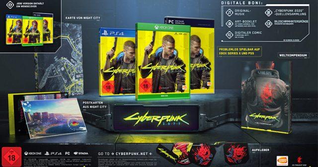 Die Inhalte der Day-One-Edition von Cyberpunk 2077 (Abbildung: Bandai Namco Entertainment / CD Projekt Red)