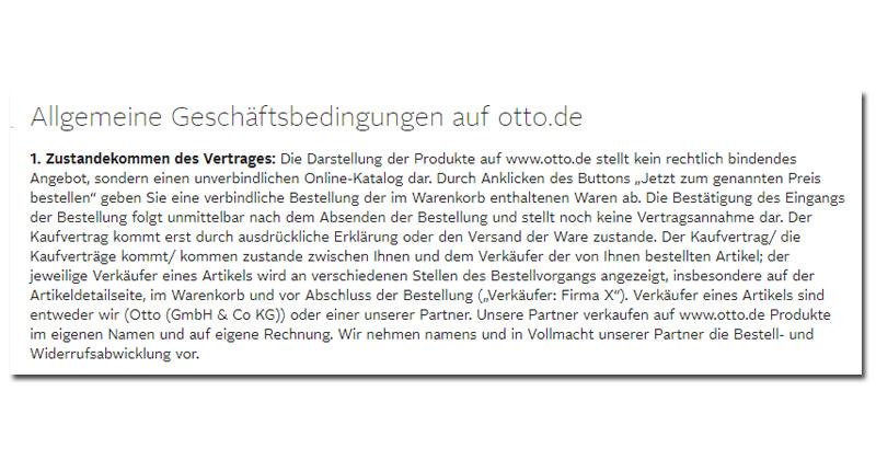 In ihren AGBs (hier: Otto.de) geben Versender Auskunft, ab wann ein Kaufvertrag zustande kommt.