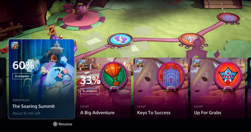 PlayStation 5 Benutzeroberfläche: Missionen und andere Aktivitäten sind am unteren Bildschirmrand in Form von Karten angeordnet (Abbildung: Sony Interactive)
