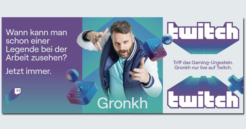 """Twitch wirbt mit """"Gaming-Urgestein"""" Gronkh auf großformatigen Werbeplakaten (Abbildung: Twitch)"""