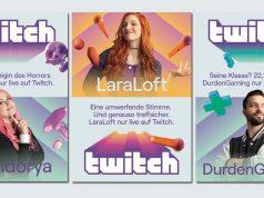 Die Twitch-Streamer Pandorya, Lara Loft und Durdengaming sind die Stars der aktuellen Twitch-Kampagne (Abbildungen: Twitch)