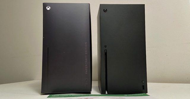 Xbox Series X Vorbesteller-Kit: Papp-Konsole und Original im Vergleich (Foto: GamesWirtschaft)
