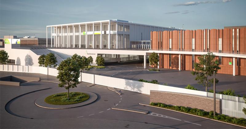 So soll das Konferenzzentrum Confex künftig aussehen (Illustration: KoelnMesse / JSWD Architekten)