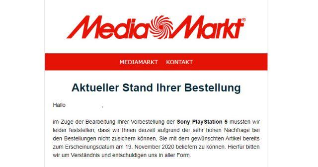 MediaMarkt warnt vor Verzögerungen bei der Auslieferung der PlayStation 5 (Screenshot: GamesWirtschaft)