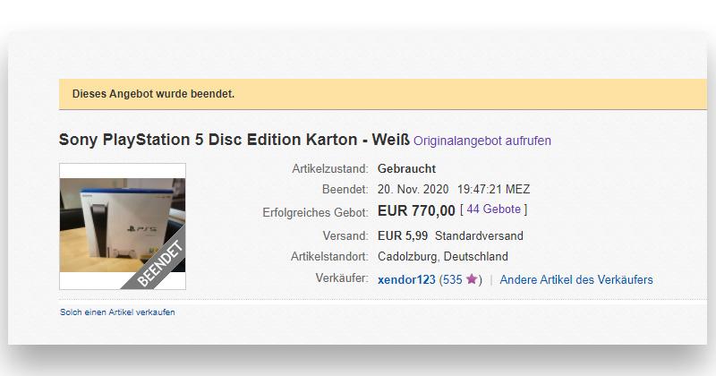 770 Euro zahlte ein argloser Käufer für den PlayStation 5-Karton (Abbildung: Ebay / Screenshot)