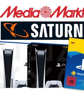 Wer eine PS5-Bestellung aufrecht erhält, bekommt eine PS-Plus-Karte (Abbildungen: Sony Interactive / MediaMarktSaturn)