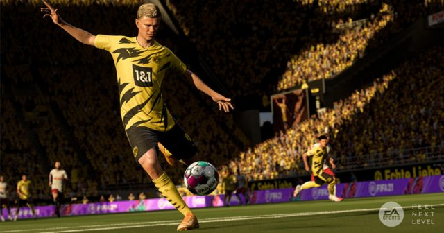 Gibt es derzeit nur in FIFA 21: Erling Haaland vor vollen Rängen (Abbildung: EA)