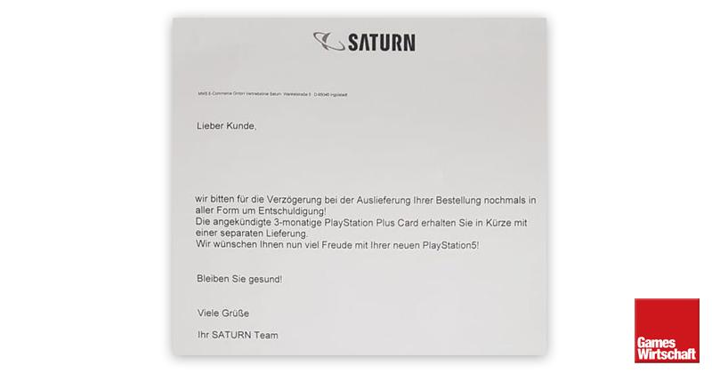 Das Saturn-Anschreiben an die PS5-Vorbesteller (Foto: privat)